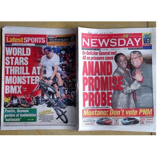 Trinidad & Tobago National Newspaper 29 April 2014 Viki WON!